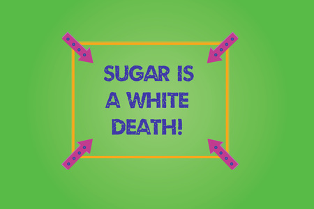 Writing note showing Sugar Is A White Death. Business photo showcasing Sweets are dangerous diabetes alert unhealthy foods Square Outline with Corner Arrows Pointing Inwards on Color Background Фото со стока