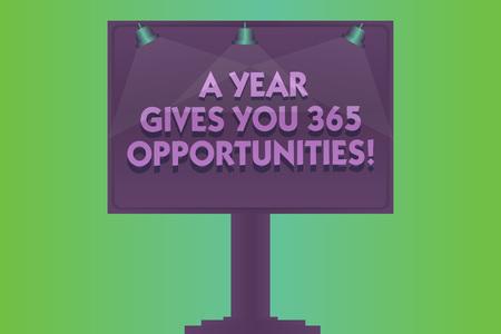 Escritura de texto Word Un año da sus 365 oportunidades. Concepto de negocio para un nuevo comienzo, motivación, inspiración, lámpara en blanco, carteles de colores iluminados, anuncios exteriores, foto montada en una pata Foto de archivo