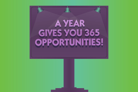 Word writing text A Year Gives Your 365 Opportunities. Business concept for Fresh new start Motivation inspiration Blank Lamp Lighted Color Signage Outdoor Ads photo Mounted on One Leg Archivio Fotografico
