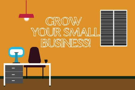 Writing note showing Grow Your Small Business. Business photo showcasing company generates positive cash flow Earn Minimalist Interior Computer and Study Area Inside a Room Banco de Imagens - 113448417
