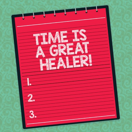 Word writing text Time Is A Great Healer. Business concept for Emotional pain will grow less after a while Lined Spiral Top Color Notepad photo on Watermark Printed Background
