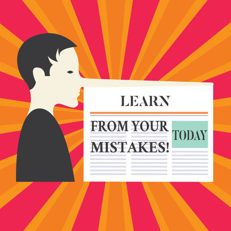 Writing note showing Learn From Your Mistakes. Business photo showcasing Take experience and advice from fails errors Man with a Very Long Nose, a Blank Newspaper is attached