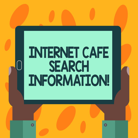 Writing note showing Internet Cafe Search Information. Business photo showcasing Online researching browsing in the web Hu analysis Hand Holding Tablet Smartphone Display Unit photo