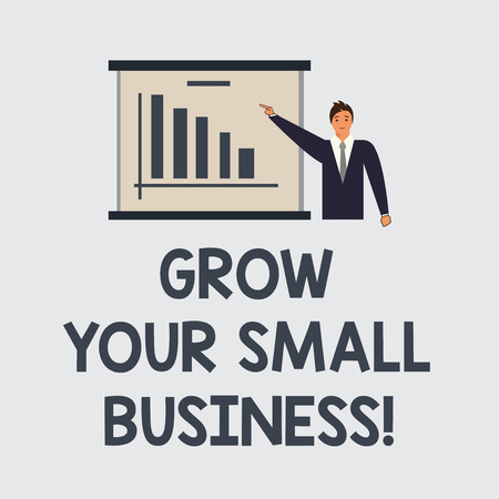 Text sign showing Grow Your Small Business. Conceptual photo company generates positive cash flow Earn Man in Business Suit Standing Pointing a Board with Bar Chart Copy Space Banco de Imagens