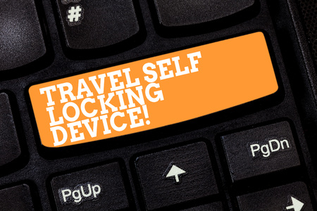 Writing note showing Travel Self Locking Device. Business photo showcasing Protecting your luggage Lock baggage on trip Keyboard key Intention to create computer message pressing keypad idea