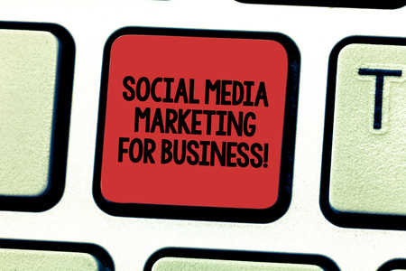 Text sign showing Social Media Marketing For Business. Conceptual photo Advertising Optimization strategy Keyboard key Intention to create computer message pressing keypad idea