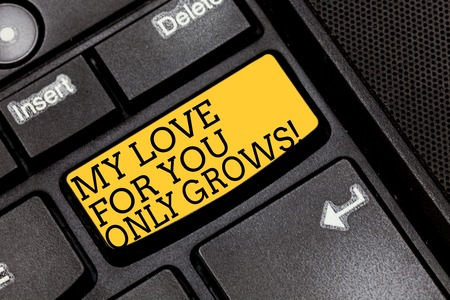 Handwriting text writing My Love For You Only Grows. Concept meaning Expressing roanalysistic feelings good emotions Keyboard key Intention to create computer message pressing keypad idea
