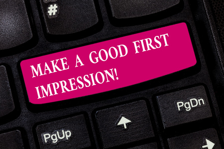 Conceptual hand writing showing Make A Good First Impression. Business photo showcasing Introduce yourself in a great look and mood Keyboard key Intention to create computer message idea Imagens