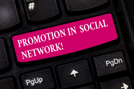 Conceptual hand writing showing Promotion In Social Network. Business photo showcasing Internet online marketing advertising strategies Keyboard key Intention to create computer message idea