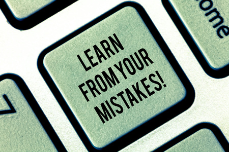 Writing note showing Learn From Your Mistakes. Business photo showcasing Take experience and advice from fails errors Keyboard key Intention to create computer message pressing keypad idea Stock fotó