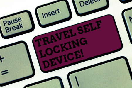 Conceptual hand writing showing Travel Self Locking Device. Business photo text Protecting your luggage Lock baggage on trip Keyboard Intention to create computer message keypad idea Archivio Fotografico