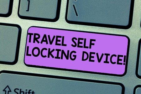 Writing note showing Travel Self Locking Device. Business photo showcasing Protecting your luggage Lock baggage on trip Keyboard Intention to create computer message keypad idea Archivio Fotografico