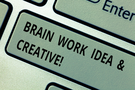 Conceptual hand writing showing Brain Work Idea And Creative. Business photo text Creativity brainstorm Innovative thinking Keyboard key Intention to create computer message idea