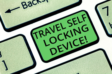 Handwriting text Travel Self Locking Device. Concept meaning Protecting your luggage Lock baggage on trip Keyboard key Intention to create computer message pressing keypad idea Archivio Fotografico