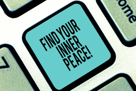 Word writing text Find Your Inner Peace. Business concept for Peaceful style of life Positivism Meditation Keyboard key Intention to create computer message pressing keypad idea