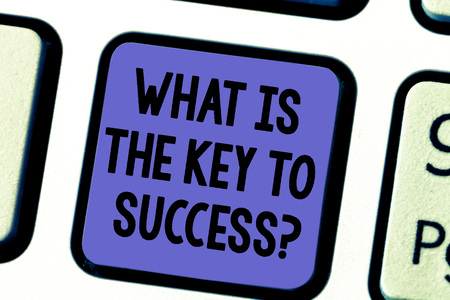 Handwriting text What Is The Key To Success. Concept meaning Advices to accomplish goals business experience Keyboard key Intention to create computer message pressing keypad idea Stock Photo