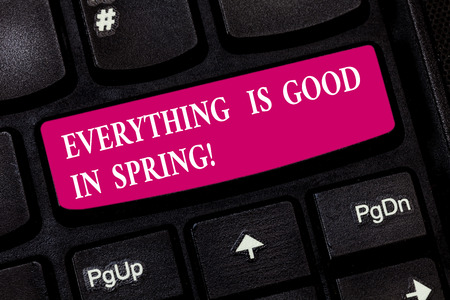 Conceptual hand writing showing Everything Is Good In Spring. Business photo showcasing Happiness for the season Enjoy nature Keyboard key Intention to create computer message idea