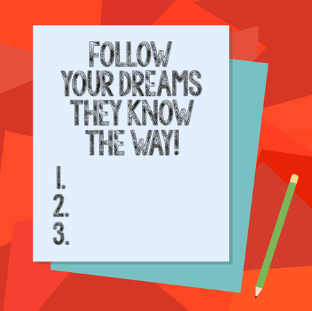 Text sign showing Follow Your Dreams They Know The Way. Conceptual photo Inspiration motivation to get success Stack of Blank Different Pastel Color Construction Bond Paper and Pencil 写真素材