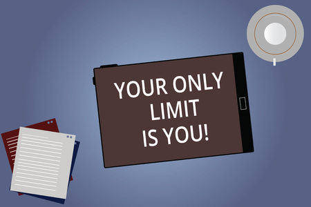 Conceptual hand writing showing Your Only Limit Is You. Business photo showcasing You set your own limitations Motivation to keep going Tablet Screen Saucer and Filler Sheets on Color Background Reklamní fotografie