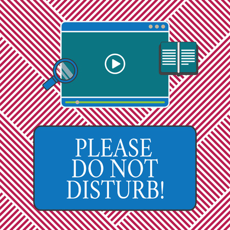 Conceptual hand writing showing Please Do Not Disturb. Business photo text Let us be quiet and rest Hotel room sign Privacy Tablet Video Player Upload and Magnifying Glass Text Space Stock fotó