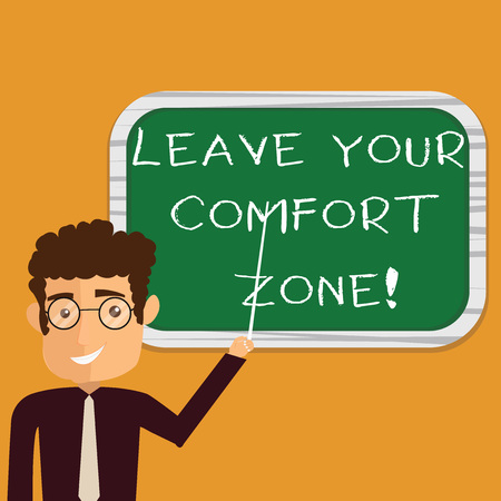 Conceptual hand writing showing Leave Your Comfort Zone. Business photo text Make changes evolve grow take new opportunities Man Holding Stick Pointing to Wall Mounted Blank Color Board Banque d'images