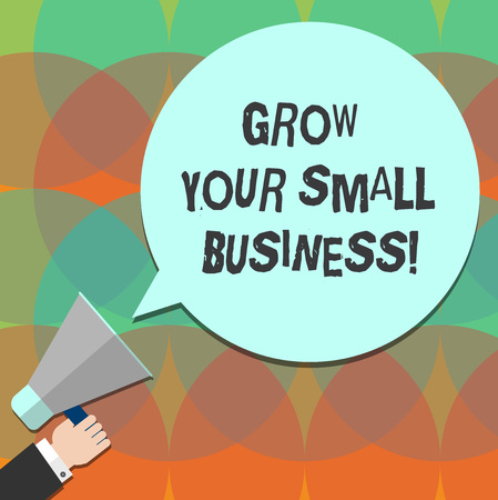Conceptual hand writing showing Grow Your Small Business. Business photo text company generates positive cash flow Earn Hu analysis Hand Holding Megaphone Color Speech Bubble Banco de Imagens - 113469202