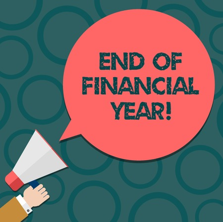Text sign showing End Of Financial Year. Conceptual photo Revise and edit accounting sheets from previous year Hu analysis Hand Holding Megaphone Blank Round Color Speech Bubble photo