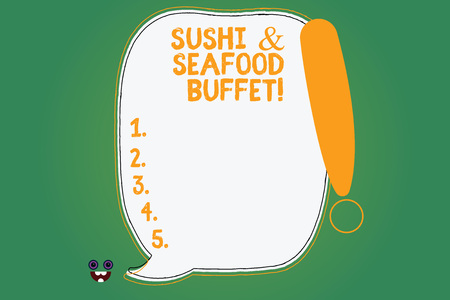 Writing note showing Sushi And Seafood Buffet. Business photo showcasing Japanese food fish dishes available for choose Blank Color Speech Bubble Outlined with Exclamation Point Banco de Imagens