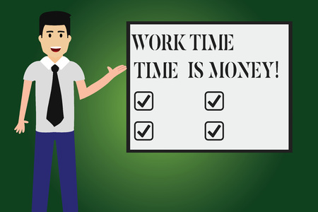 Conceptual hand writing showing Work Time Time Is Money. Business photo text Be fast to accomplish more work efficiently Man with Tie Talking Presenting Blank Color Square Board 免版税图像