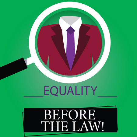 Text sign showing Equality Before The Law. Conceptual photo Justice balance protection equal rights for everyone Magnifying Glass photo Enlarging Inspecting a Tuxedo and Label Tag Below