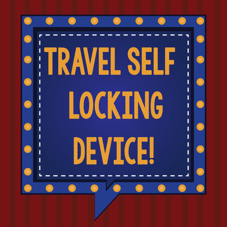 Handwriting text Travel Self Locking Device. Concept meaning Protecting your luggage Lock baggage on trip Square Speech Bubbles Inside Another with Broken Lines Circles as Borders Archivio Fotografico