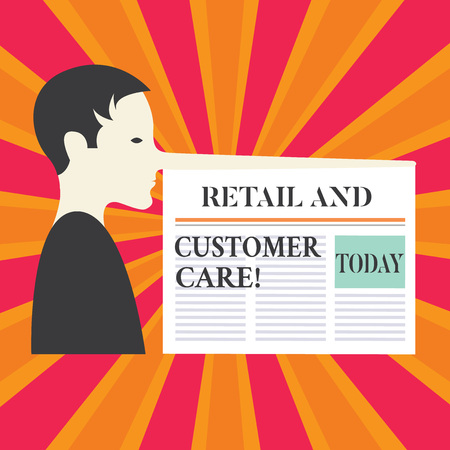 Writing note showing Retail And Customer Care. Business photo showcasing Shopping assistance store helping services Man with a Very Long Nose like Pinocchio a Blank Newspaper is attached Stockfoto
