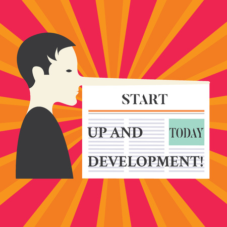 Writing note showing Start Up And Development. Business photo showcasing New business success corporate project strategy Man with a Very Long Nose like Pinocchio a Blank Newspaper is attached Stockfoto