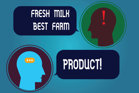 Writing note showing Fresh Milk Best Farm Product. Business photo showcasing Good natural healthy organic dairy products Messenger Room with Chat Heads Speech Bubbles Punctuations Mark icon