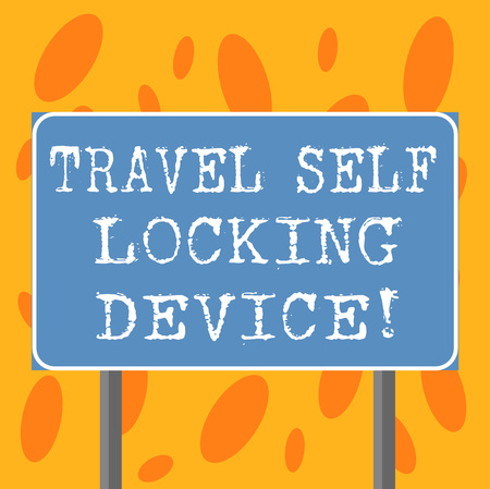 Writing note showing Travel Self Locking Device. Business photo showcasing Protecting your luggage Lock baggage on trip Blank Outdoor Color Signpost photo with Two leg and Outline Archivio Fotografico