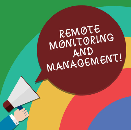 Handwriting text Remote Monitoring And Management. Concept meaning Long distance monitor data analysisager Hu analysis Hand Holding Megaphone Blank Round Color Speech Bubble photo
