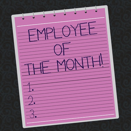 Conceptual hand writing showing Employee Of The Month. Business photo showcasing Reward Prize recognition for hard good excellent job Lined Spiral Color Notepad on Watermark Printed Background