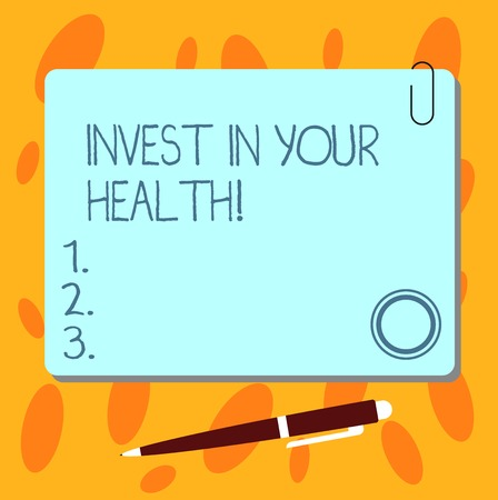 Text sign showing Invest In Your Health. Conceptual photo Spend money in demonstratingal healthcare Preventive Tests Blank Square Color Board with Magnet Click Ballpoint Pen Pushpin and Clip