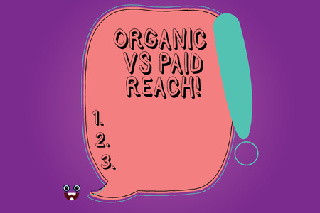 Handwriting text Organic Vs Paid Reach. Concept meaning Increasing followers naturally or by paying for it Blank Color Speech Bubble Outlined with Exclamation Point Monster Face icon Banco de Imagens