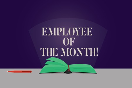Word writing text Employee Of The Month. Business concept for Reward Prize recognition for hard good excellent job Color Pages of Open Book photo on Table with Pen and Light Beam Glaring