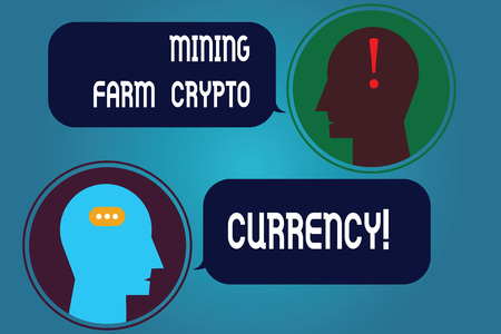 Writing note showing Mining Farm Crypto Currency. Business photo showcasing Block chain trading digital money business Messenger Room with Chat Heads Speech Bubbles Punctuations Mark icon