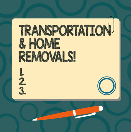 Text sign showing Transportation And Home Removals. Conceptual photo Moving shipping packages new house Blank Square Color Board with Magnet Click Ballpoint Pen Pushpin and Clip Foto de archivo