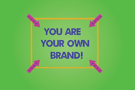 Writing note showing You Are Your Own Brand. Business photo showcasing Perception emotion from other showing about yourself Square Outline with Corner Arrows Pointing Inwards on Color Background Stock Photo