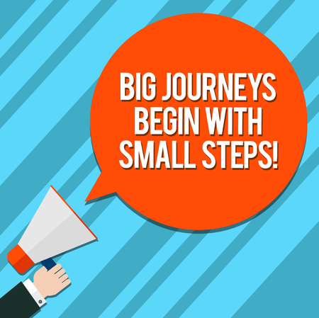 Word writing text Big Journeys Begin With Small Steps. Business concept for One step at a time to reach your goals Hu analysis Hand Holding Megaphone Blank Round Color Speech Bubble photo