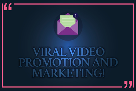 Conceptual hand writing showing Viral Video Promotion And Marketing. Business photo text Modern advertising social media strategy Open Envelope with Paper Email Message inside Quotation Mark