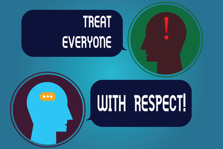 Writing note showing Treat Everyone With Respect. Business photo showcasing Be respectful to others Have integrity Messenger Room with Chat Heads Speech Bubbles Punctuations Mark icon Stock fotó