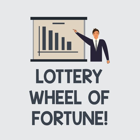 Text sign showing Lottery Wheel Of Fortune. Conceptual photo Chances good luck gambling addiction gambler Man in Business Suit Standing Pointing a Board with Bar Chart Copy Space 免版税图像