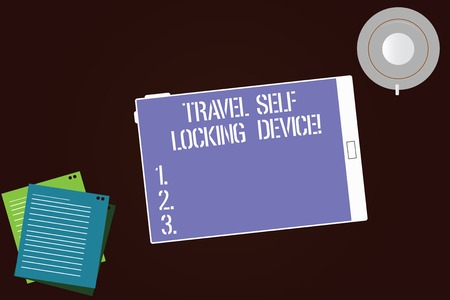 Writing note showing Travel Self Locking Device. Business photo showcasing Protecting your luggage Lock baggage on trip Tablet Screen Cup Saucer and Filler Sheets on Color Background