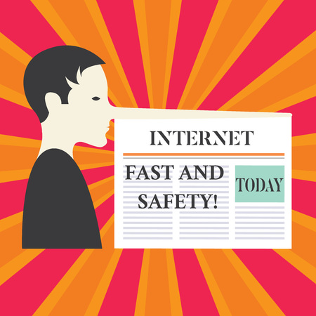 Writing note showing Internet Fast And Safety. Business photo showcasing High speed connection online security tools Man with a Very Long Nose like Pinocchio a Blank Newspaper is attached