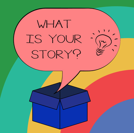 Conceptual hand writing showing What Is Your Storyquestion. Business photo text Tell us your background and life experiences Idea icon in Blank Halftone Speech Bubble Over Carton Box Stockfoto